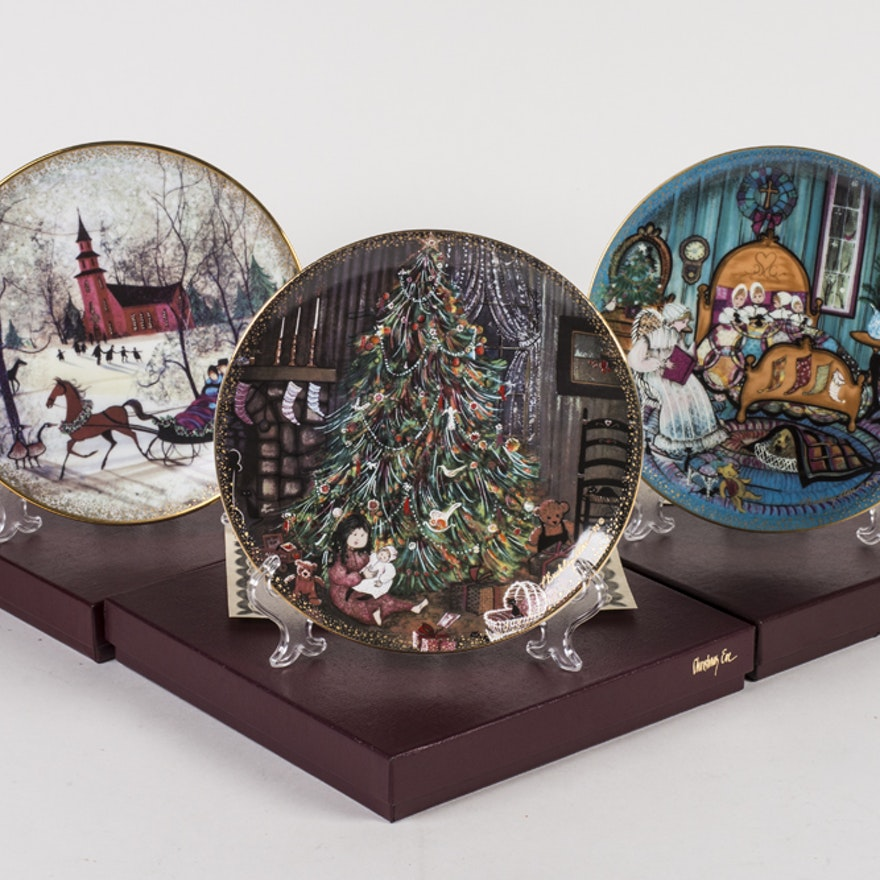 trio of anna perenna limited edition decorative christmas plates - Decorative Christmas Plates