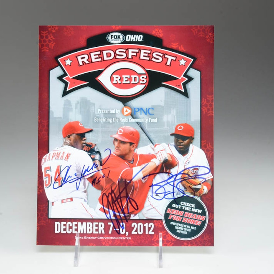 2012 Redsfest Photo Signed By Votto, Chapman, Phillips