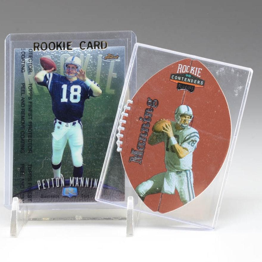 Two 1998 Peyton Manning Rookie Football Cards