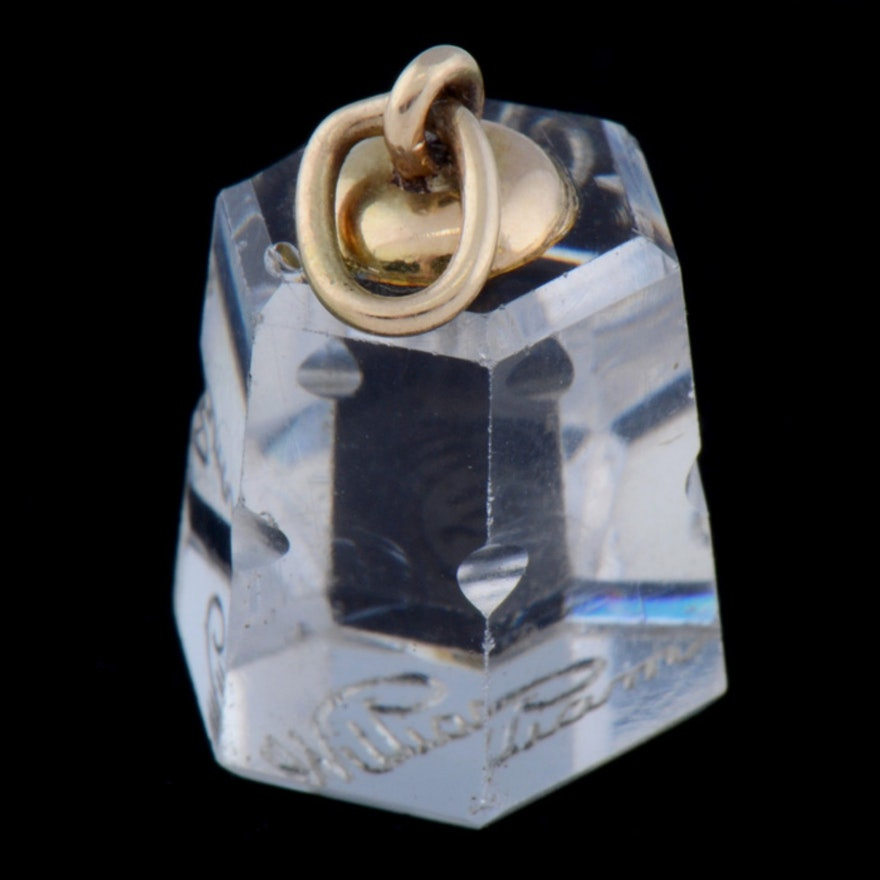 """14K Yellow Gold Octagon Shaped """"William"""" Glass Seal"""