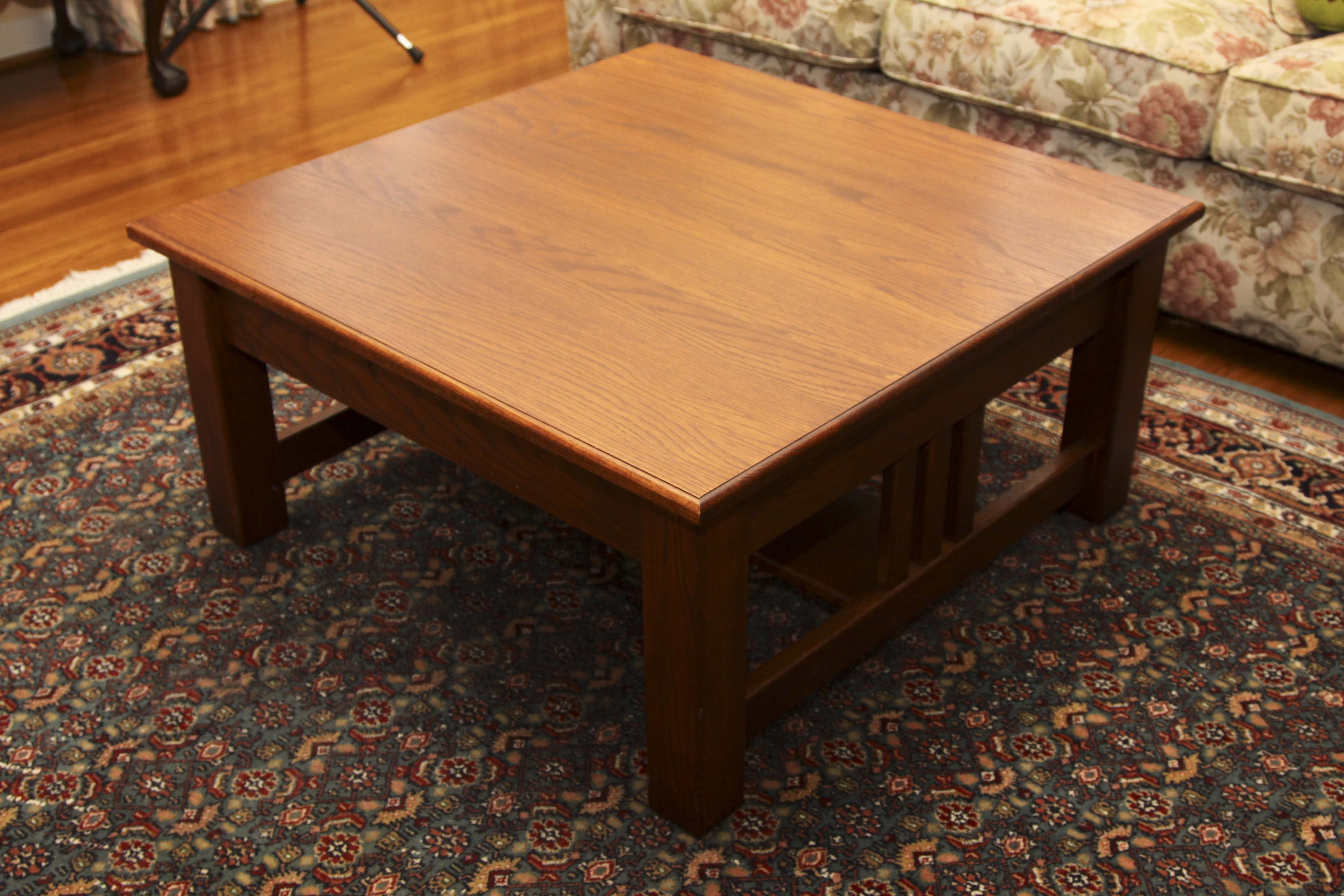 Custom Made Solid Oak Mission Style Coffee Table ...