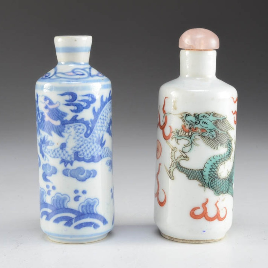 Pair of Qing Dynasty Hand Painted Snuff bottles