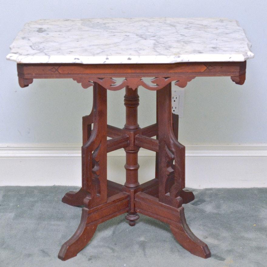 Eastlake Victorian Marble Top Lamp Side Parlor Table Ebth