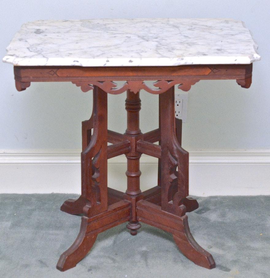 Victorian marble top table jpg - Eastlake Victorian Marble Top Lamp Side Parlor Table