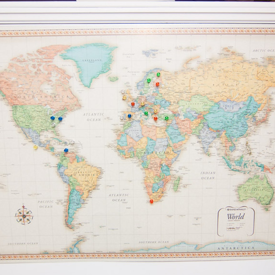 World Map With Magnetic Pins.Frontgate Magnetic World Map With Pins Ebth