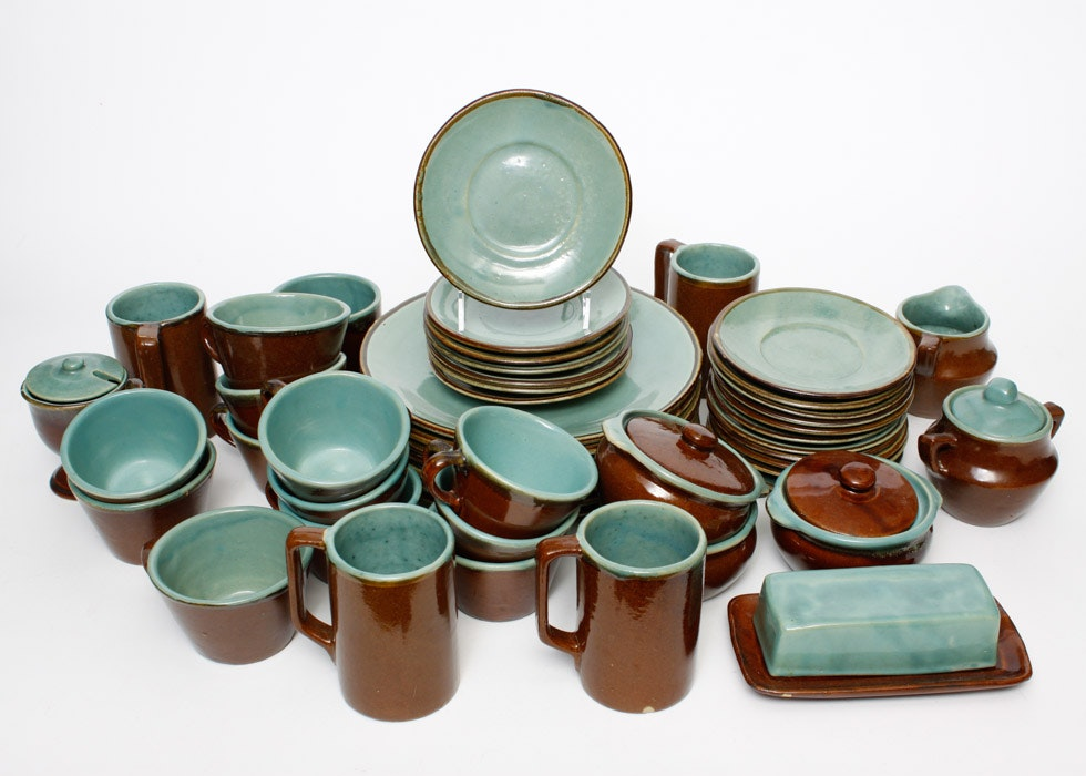 red wing country jane generous assortment of teal and brown stoneware dishes