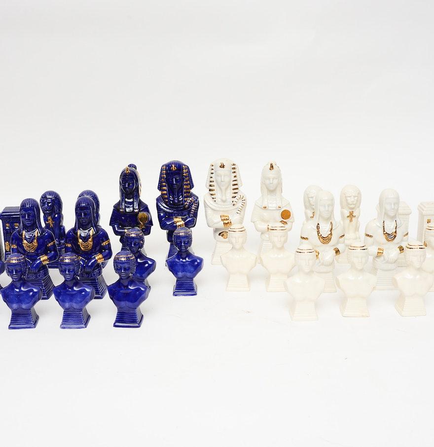 Egyptian ceramic chess set ebth - Ceramic chess sets for sale ...