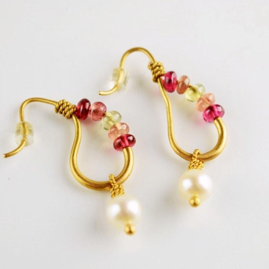Reinstein Ross 22k Peach Gold Ancient Earrings