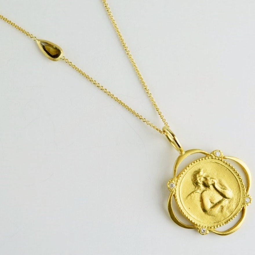 Cathy Waterman 22K Gold Cherub Diamond Pendant on 18K Gold Chain ...