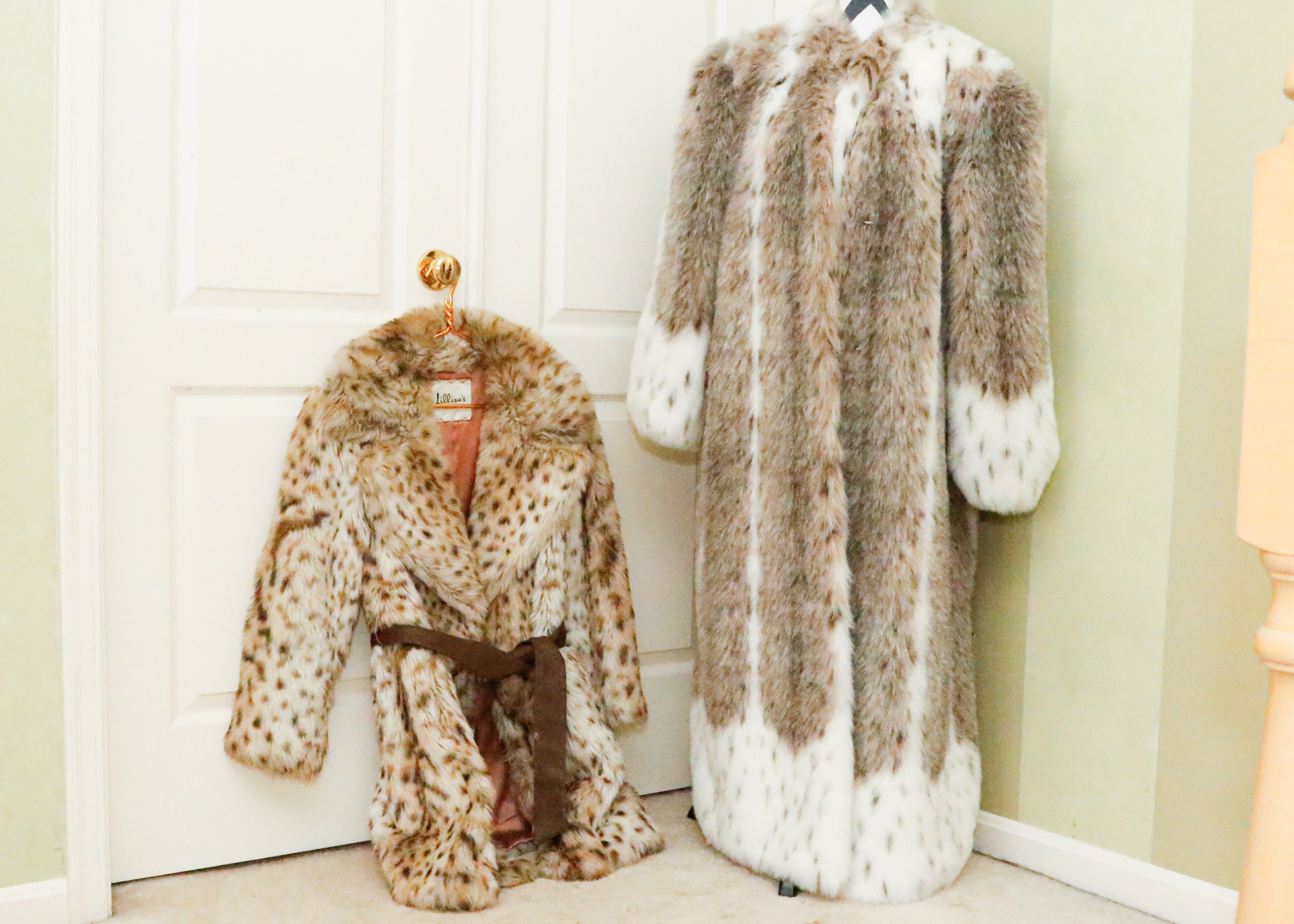 Black and white spotted fur coat