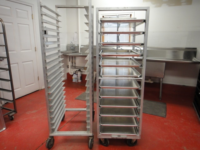 Two Aluminum Mobile Pan Racks Plus 12 Aluminum Trays & Antique Shelving and Vintage Storage Units in Spring Valley OH ...