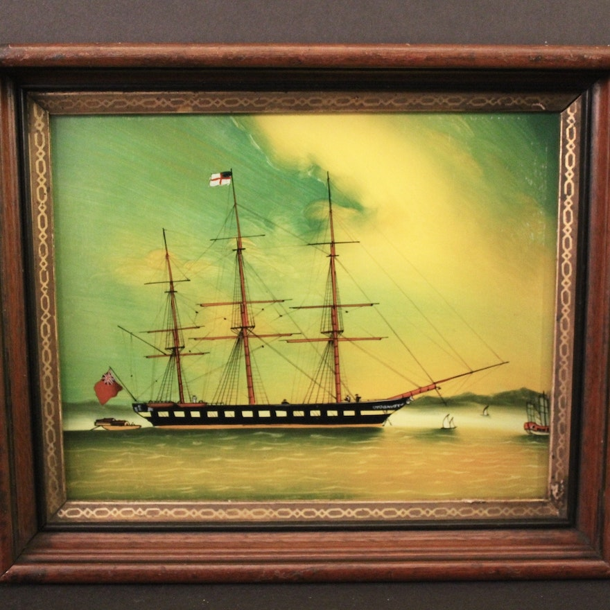Reverse Painted Glass Panel of Ship : EBTH