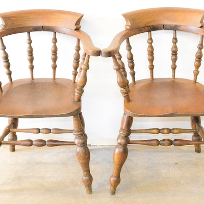Pair of Vintage Wooden Armchairs - Vintage Chairs, Antique Chairs And Retro Chairs Auction In Dallas