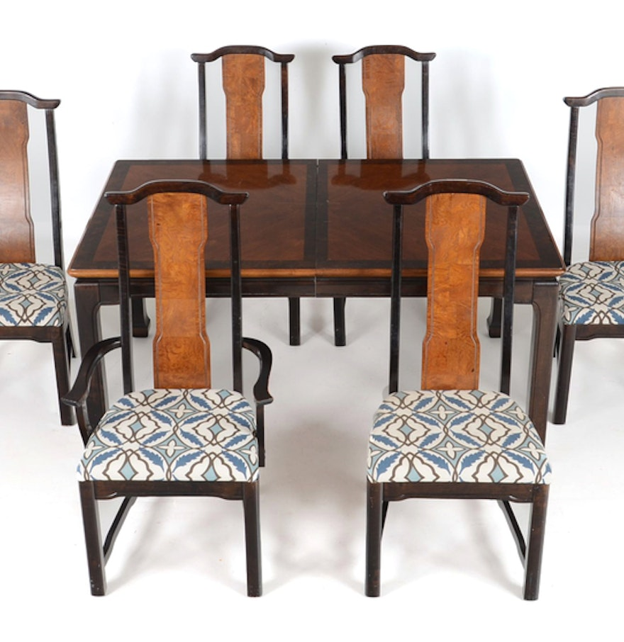 Broyhill ming dynasty dining table and six chairs ebth for Dining table and six chairs