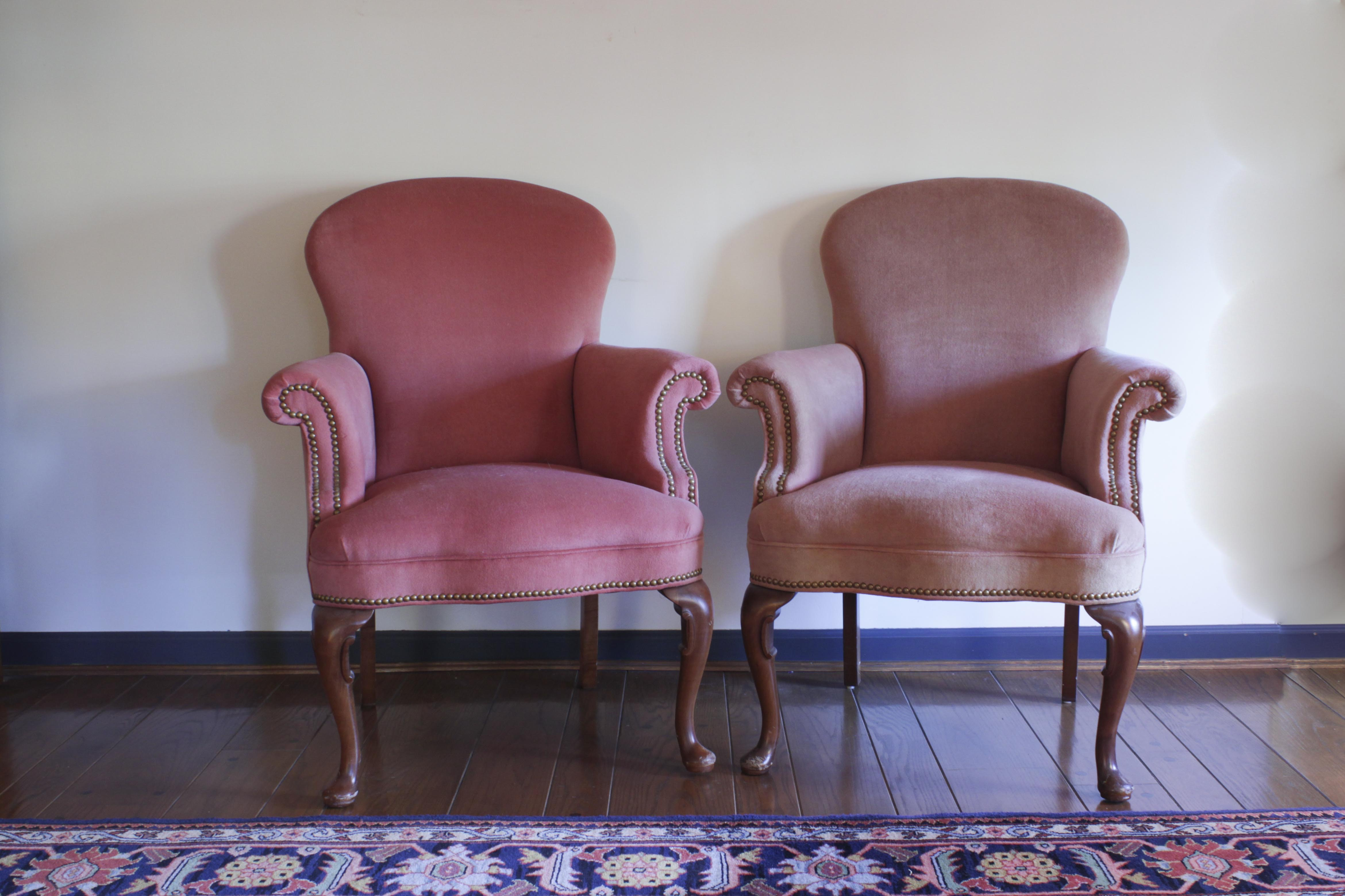 Great North Hickory Furniture Company Rose Colored Armchairs ...