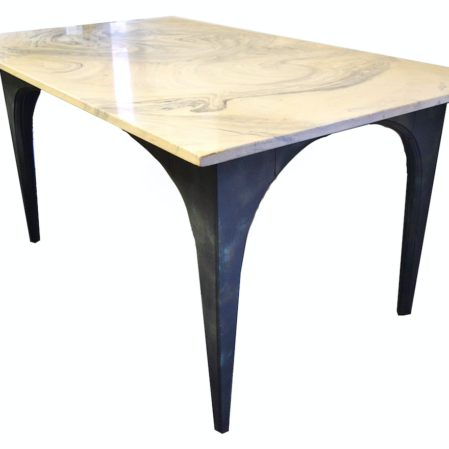 Mid Century Modern Marble Table: Mid Century Cultured Marble Top Dining Table