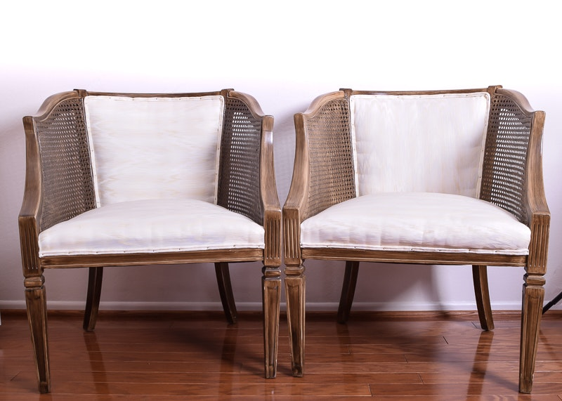 Charming Pair Of Upholstered Mid Century Cane Armchairs