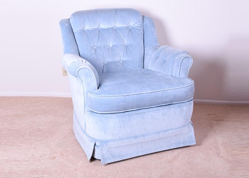 Vintage Light Blue Upholstered Armchair