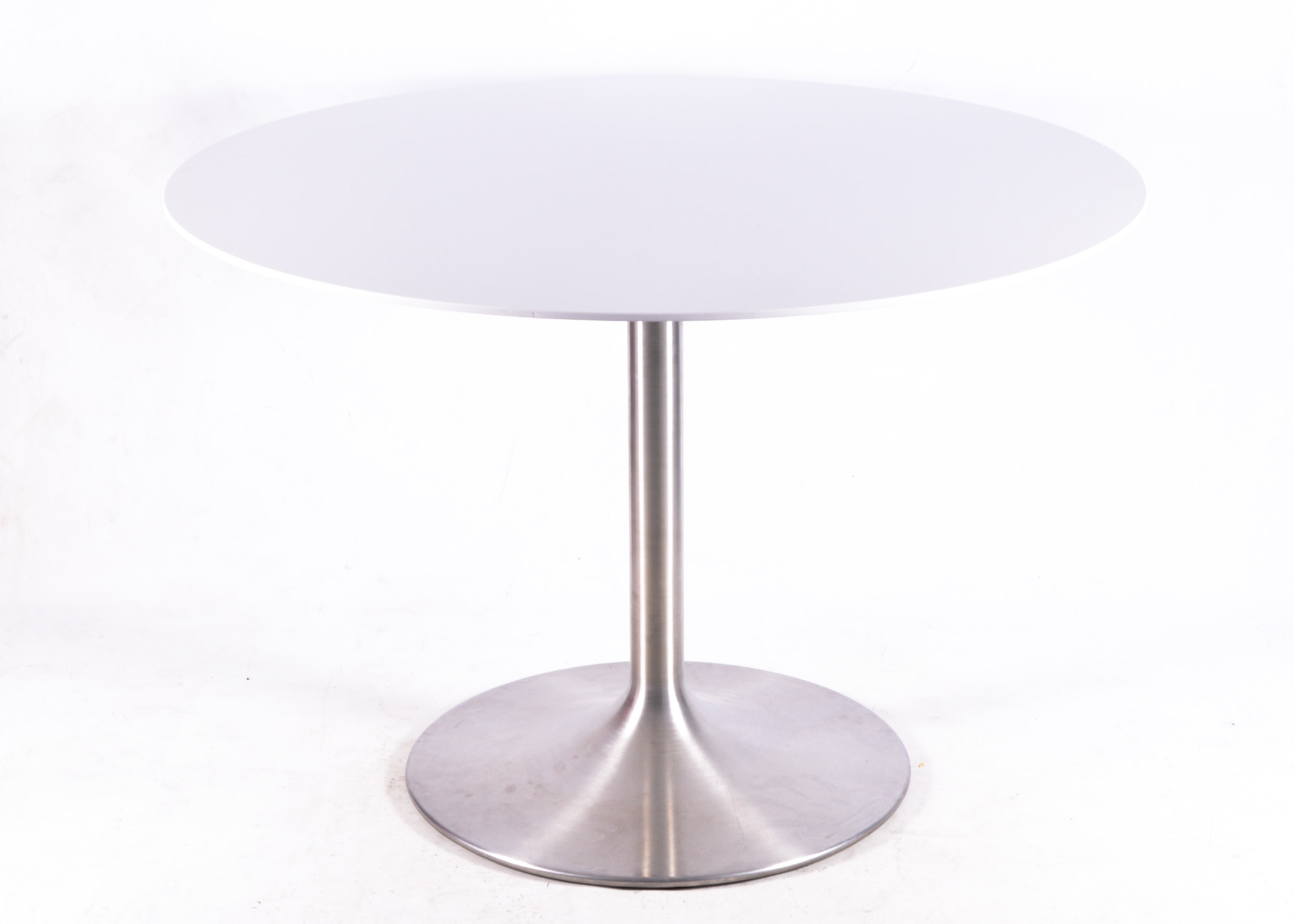 White Laminate Round Table With Stainless Steel Tulip Base ...