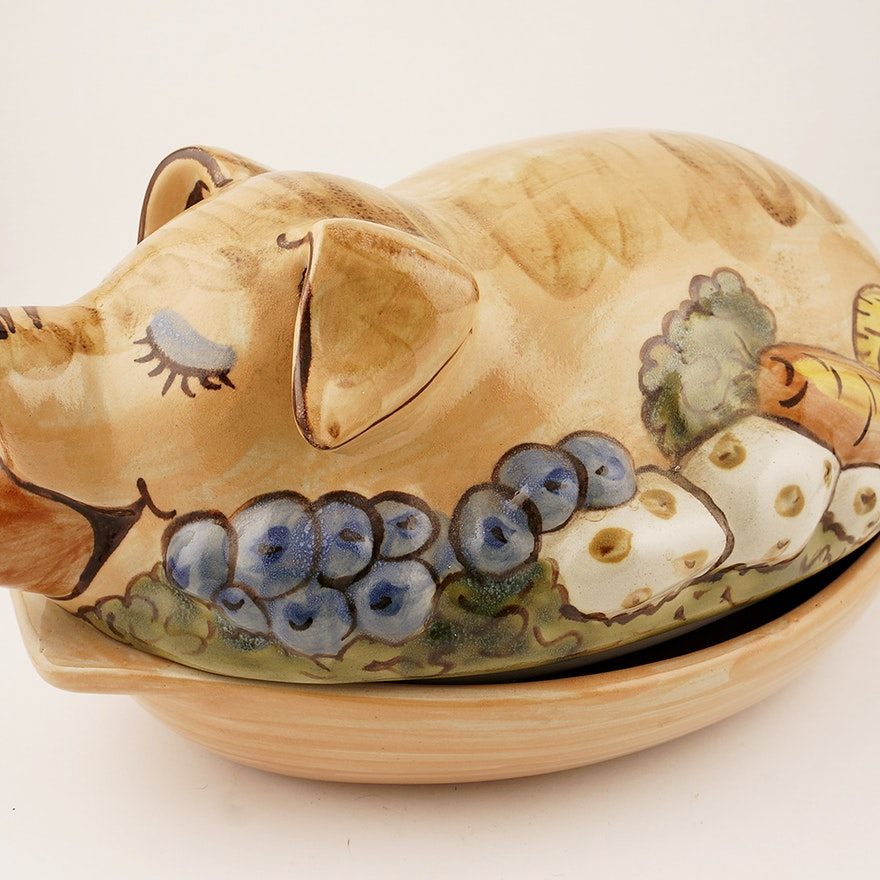 Louisville Stoneware Pig Shaped Covered Serving Platter