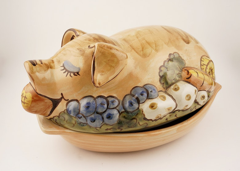 Louisville Stoneware Pig Shaped Covered