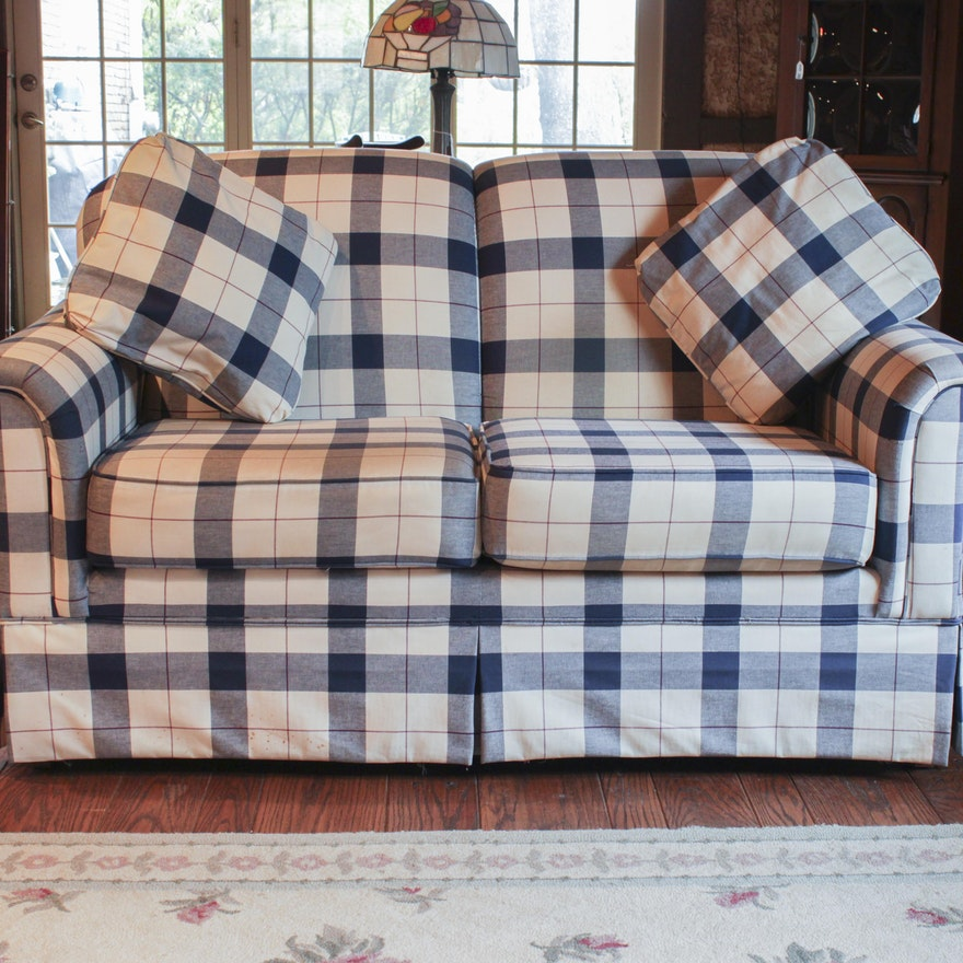 Broyhill Blue Plaid Loveseat Ebth