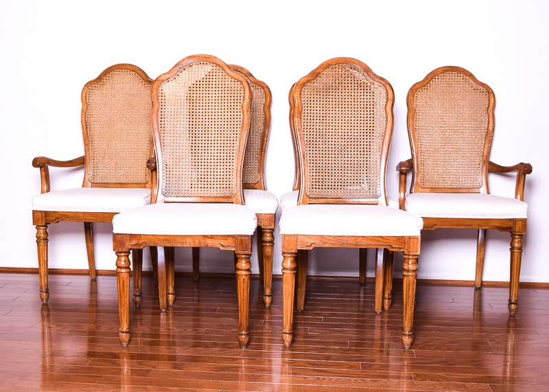 Set Of Six Thomasville Cane Back Dining Chairs