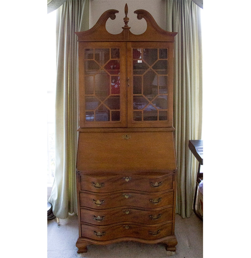 Jasper Curio Cabinet Chippendale Style Slant Front Secretary Desk By Jasper Ebth