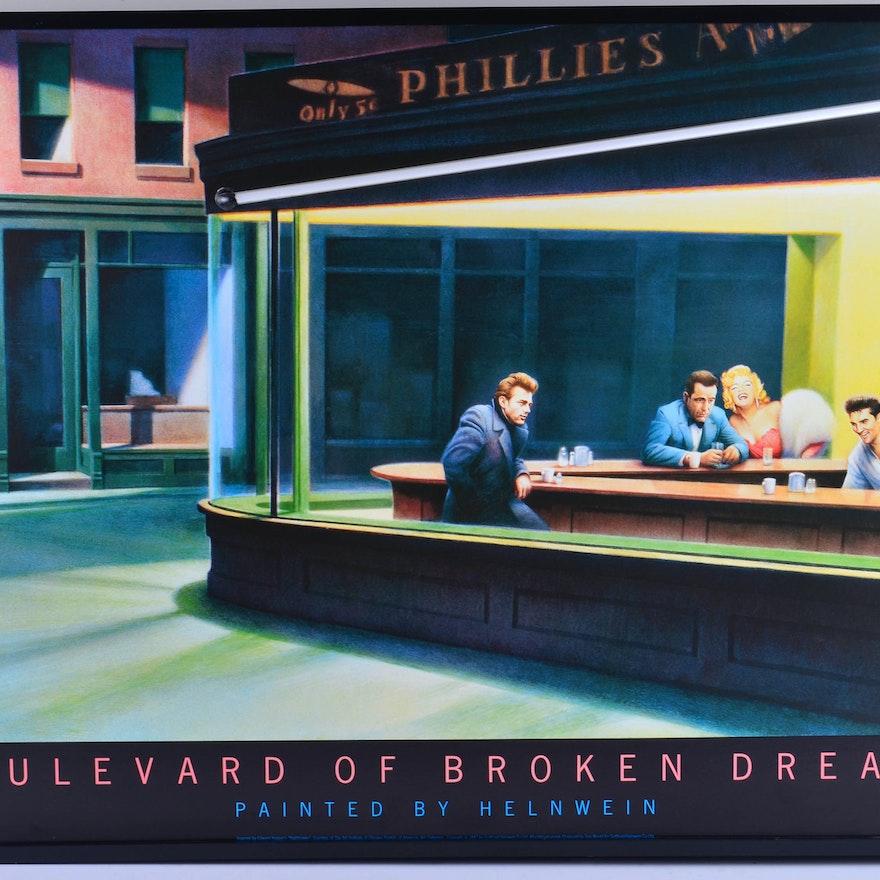 Neon Boulevard Of Broken Dreams Print Ebth
