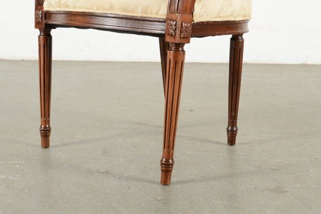Antique Cushioned Walnut Accent Chairs Ebth