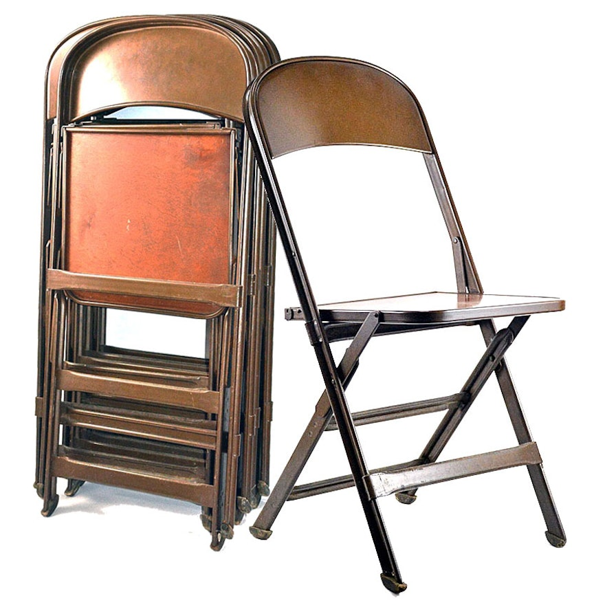 Stupendous Six 1940S Clarin Industrial Folding Chairs Bralicious Painted Fabric Chair Ideas Braliciousco
