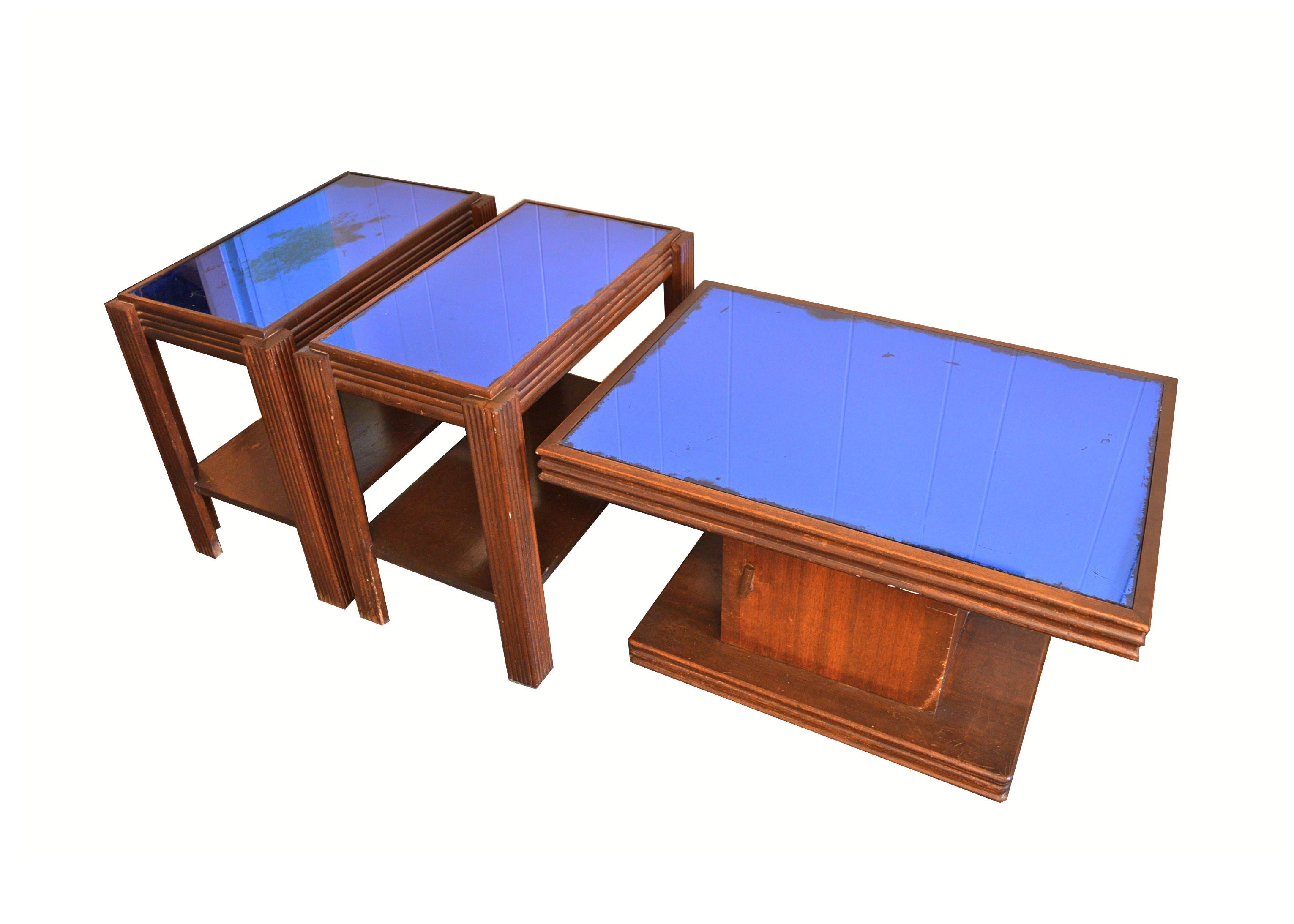 Vintage Art Deco Blue Mirror Coffee And Side Tables