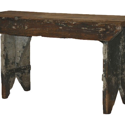 Weathered Country Bench - Online Furniture Auctions Vintage Furniture Auction Antique