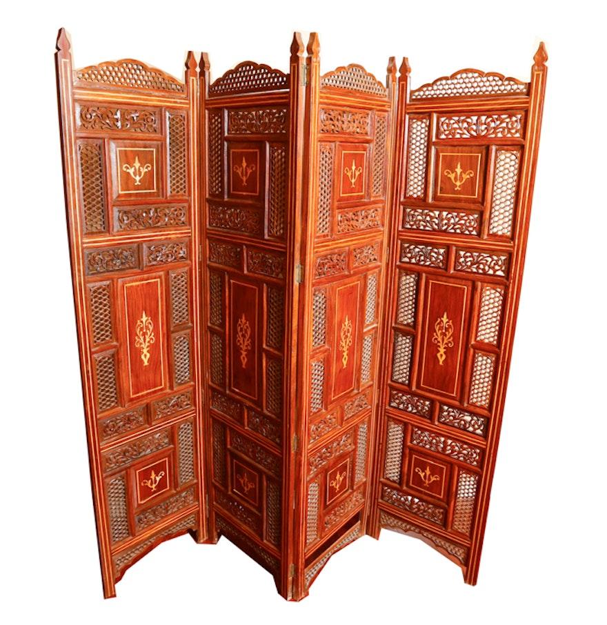 Vintage carved rosewood dressing screen ebth