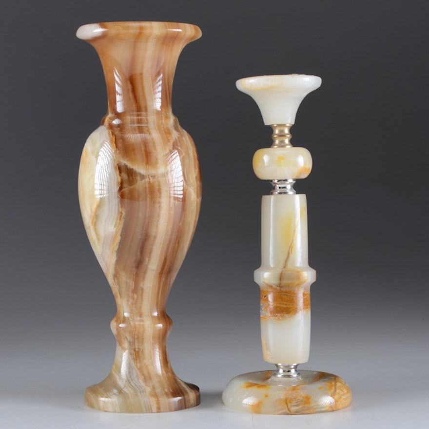Onyx Vase And Candlestick Ebth