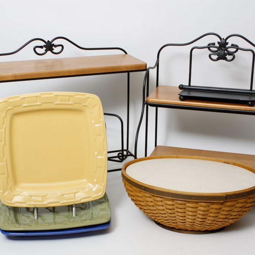 Longaberger Wrought Iron Bakers Rack, Plate Rack, Napkin Holder : EBTH