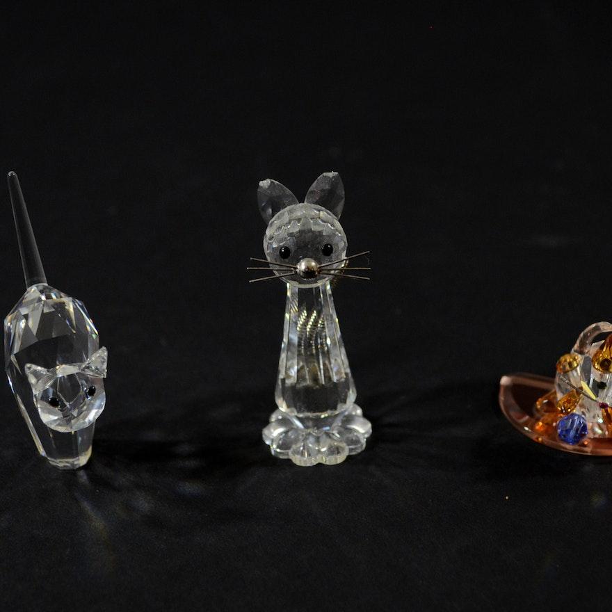 0294207e1 Selection of Swarovski Crystal Cat Figurines : EBTH