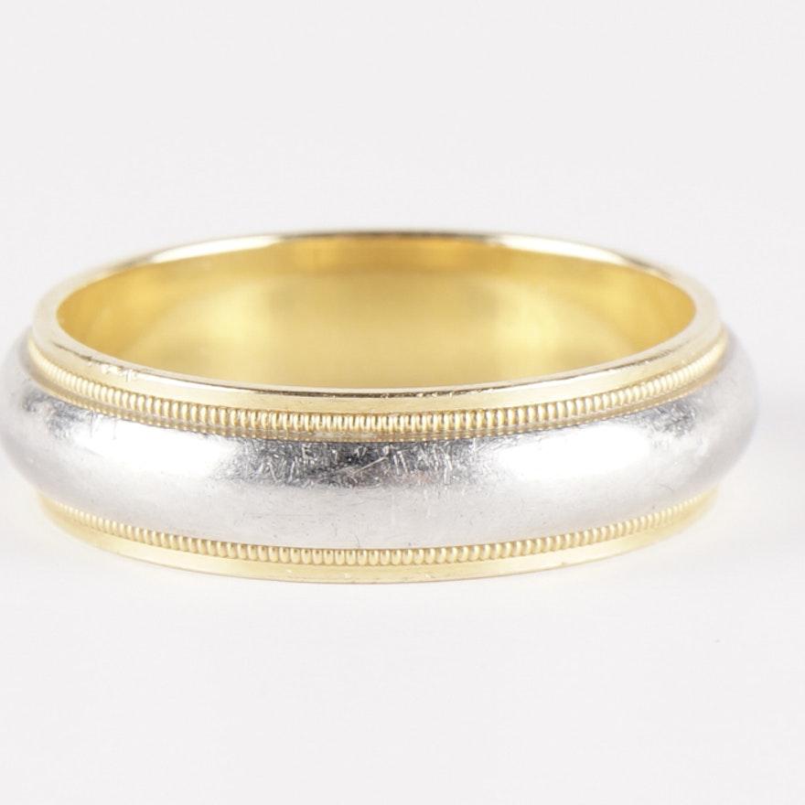 Tiffany Co Platinum 18k Gold 3mm Milgrain Wedding Band: Tiffany & Co. 18K Gold And Platinum Milgrain Ring