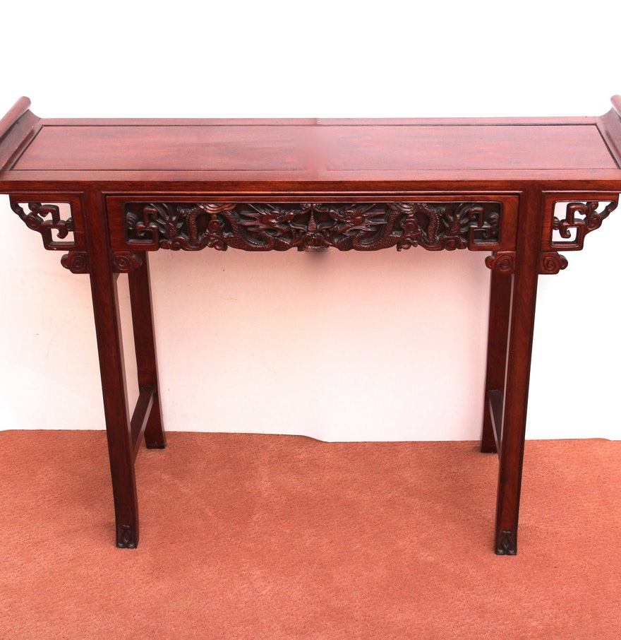 Vintage red gum wood chinese altar table ebth for Table 52 2015