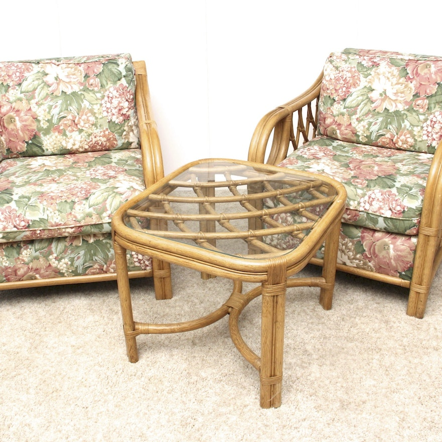 Bamboo Turned Chair: Lane Venture Rattan Bamboo Style Chairs And Side Table