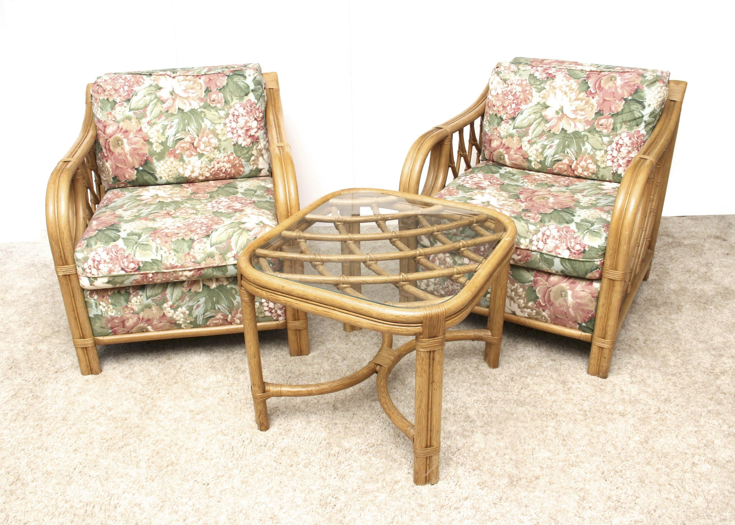Lane Venture Rattan Bamboo Style Chairs And Side Table ...