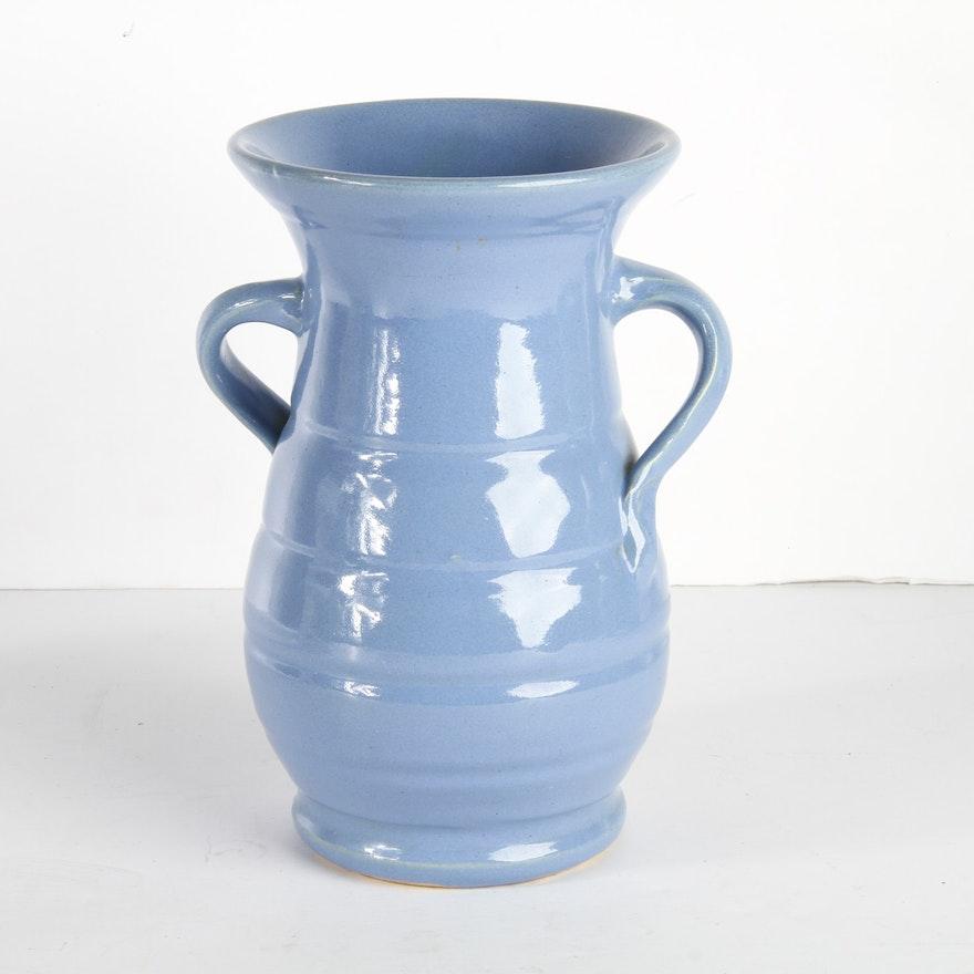 Matt Carlton Delft Blue Bauer Vase Ebth