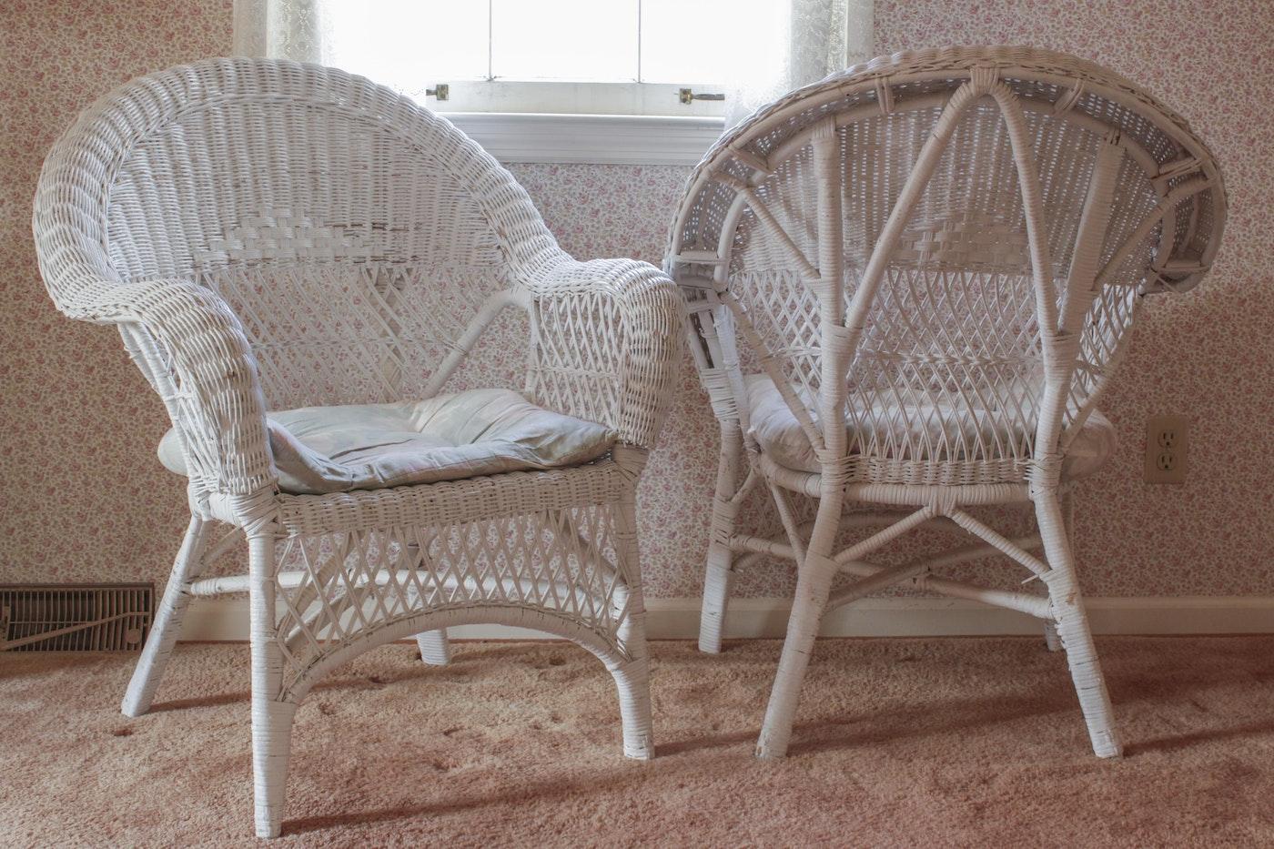 Vintage White Wicker Chairs Ebth