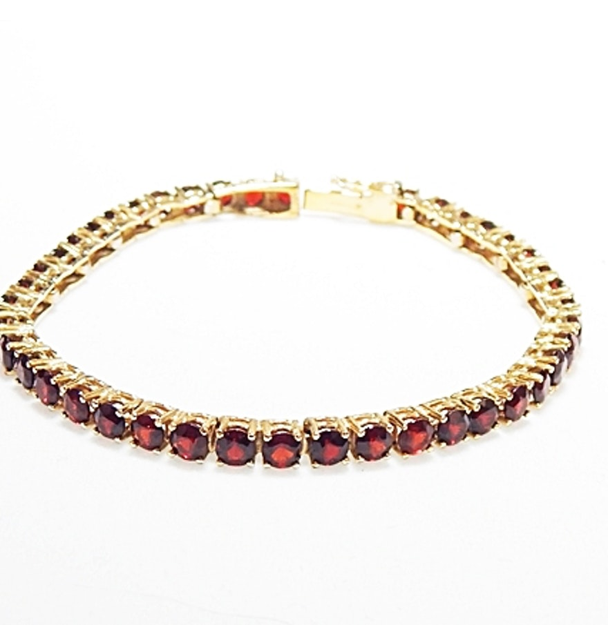 brass and garnet tennis bracelet ebth