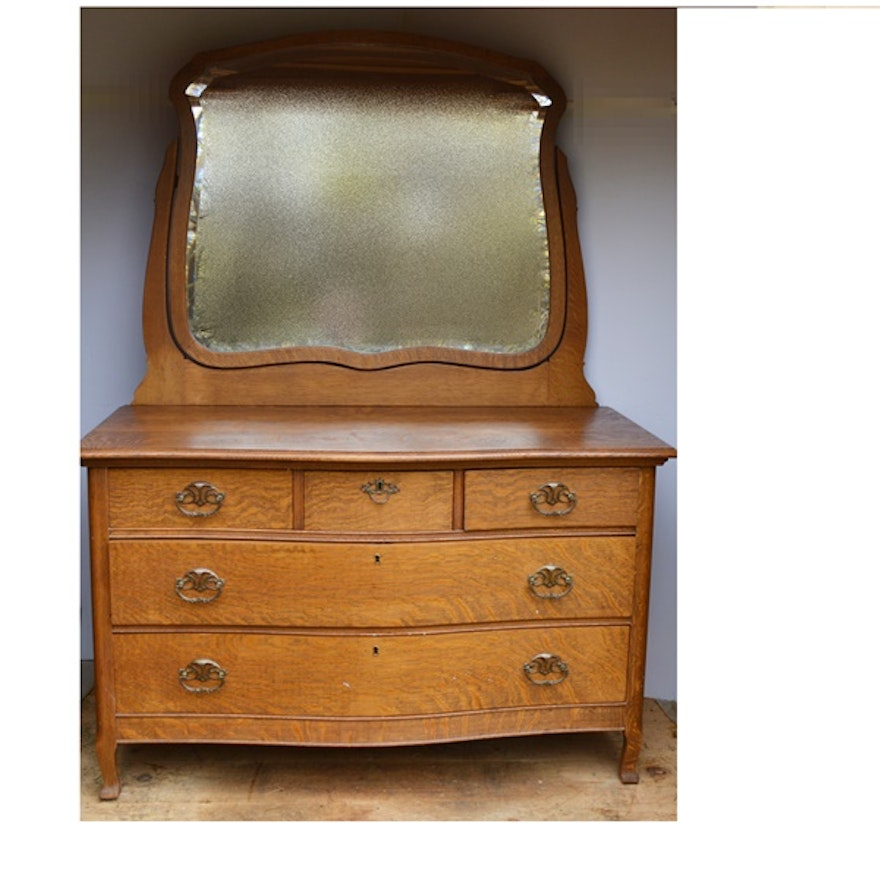 Antique Quarter Sawn Oak Dresser And Mirror