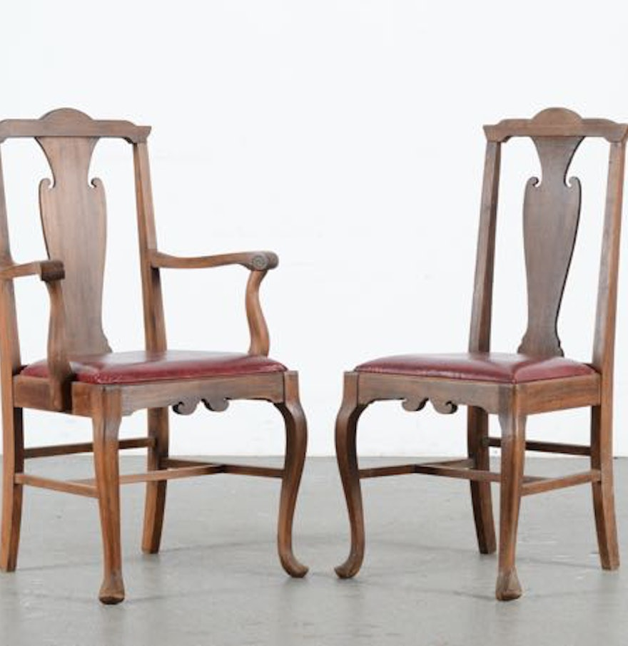 Matching walnut arm and parlor chairs ebth for Matching arm chairs