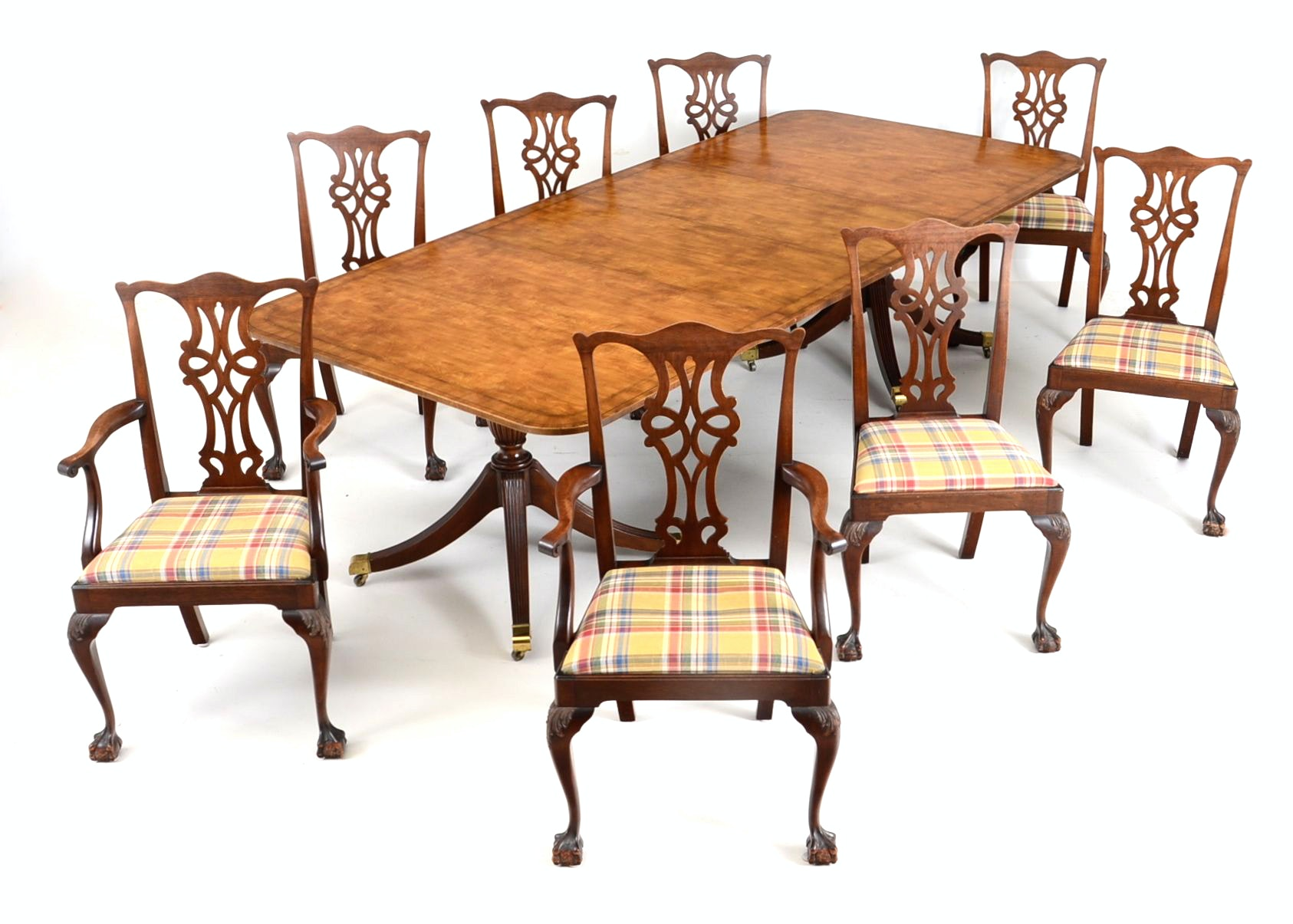 Maple Kitchen Table With Chair And Bench Ebth: Baker Dining Room Table With Eight Chairs