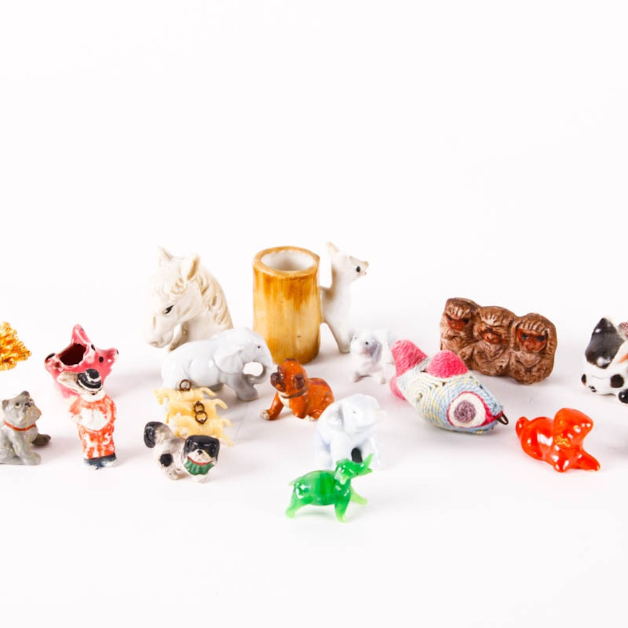 Porcelain and Glass Miniature Animal Figurines