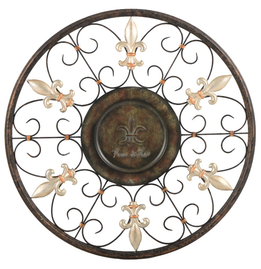 metal fleur de lis wall decoration ebth. Black Bedroom Furniture Sets. Home Design Ideas