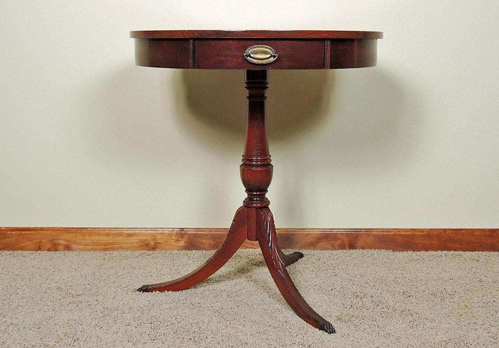 Vintage Mersman Pedestal Drum Table Ebth